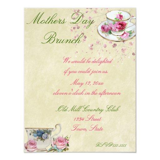 Tea Cups Mothers Day/Wedding Brunch 4.25x5.5 Paper ...