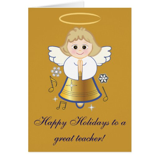 Teacher's Holiday Angel Non-Denominational Gold Greeting