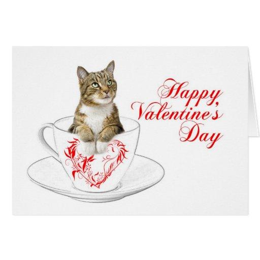 Teacup Cat Valentine Greeting Cards   Zazzle