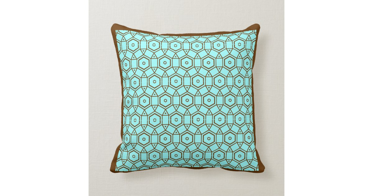Teal And Brown Modern Pillow