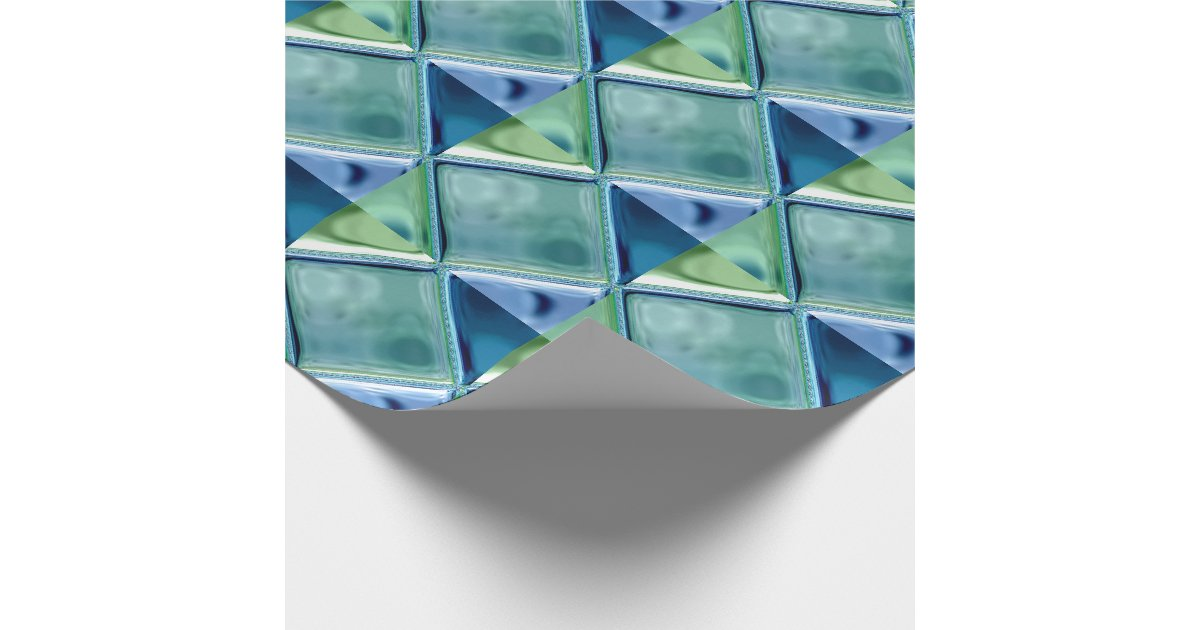 Teal And Navy Glass Mosaic Tile Art Wrapping Paper Zazzle