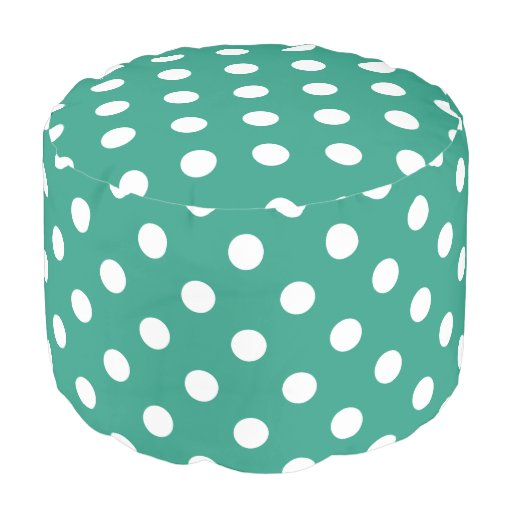 Teal And White Polka Dots Pouf