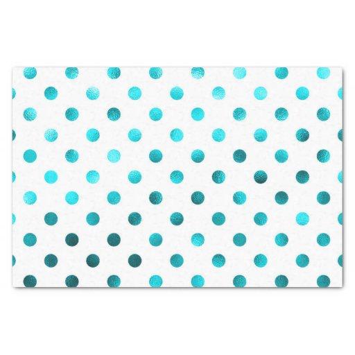 "Teal Aqua Blue Metallic Faux Foil Polka Dot White 10"" X 15"