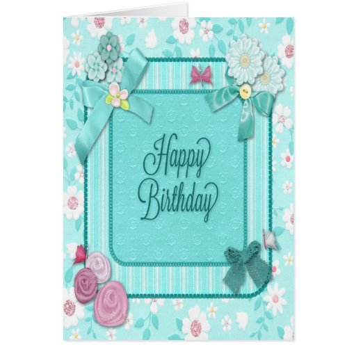 Teal Birthday Card With Flowers
