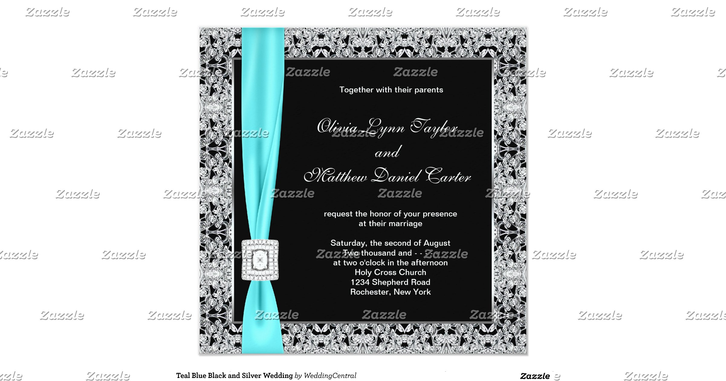Dark Blue Wedding Invitations: Teal_blue_black_and_silver_wedding_invitation