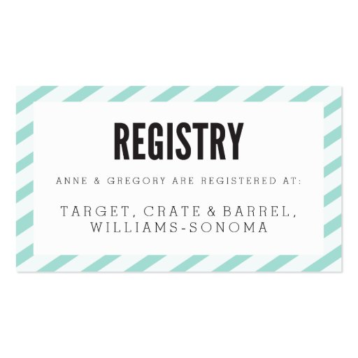 Teal Blue Carnival Stripes Registry Insert Card Double