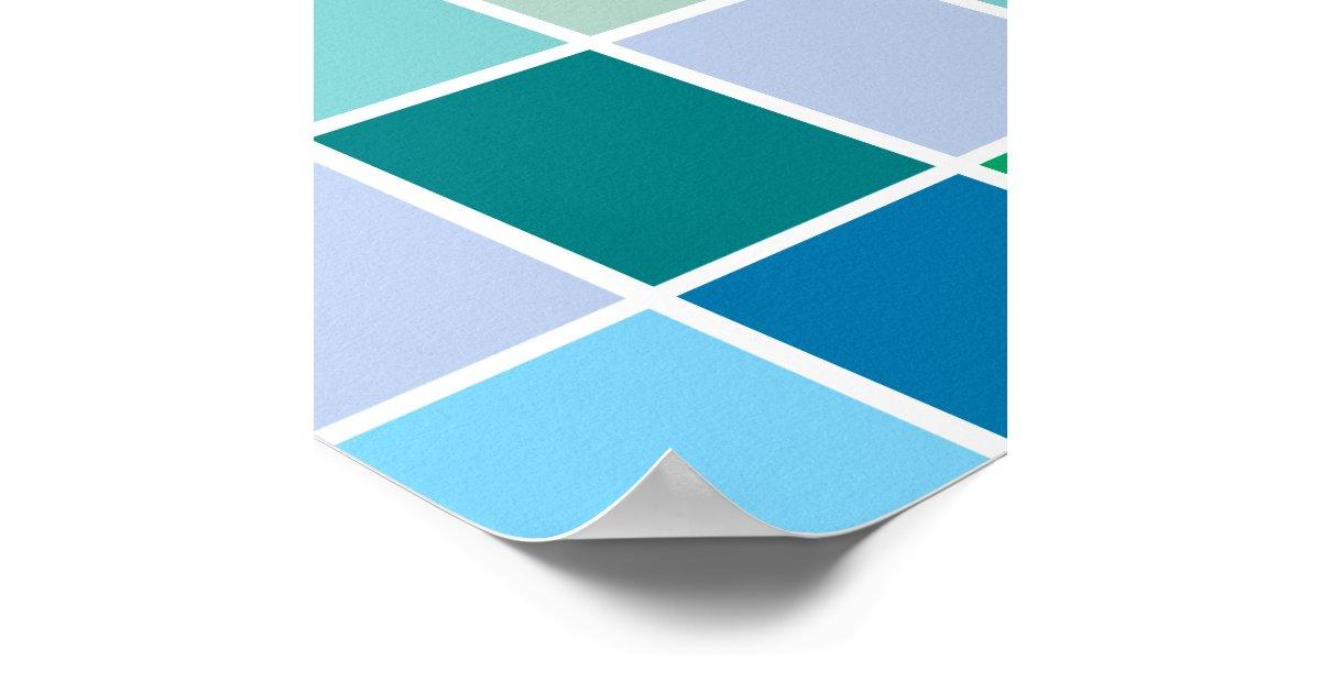 Teal Blue Geometric Pattern Poster | Zazzle