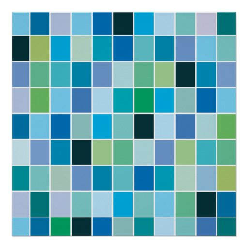 Teal Blue Geometric Pattern Posters | Zazzle