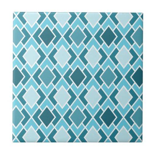 Teal Blue Modern Diamond Geometric Pattern Tile | Zazzle