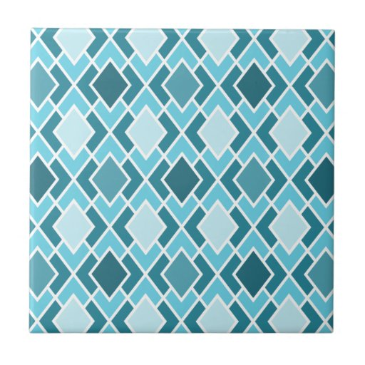Teal Blue Modern Diamond Geometric Pattern Ceramic Tile ...