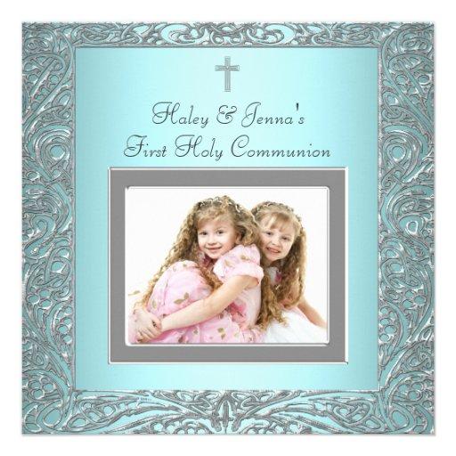 Twins First Communion Invitations