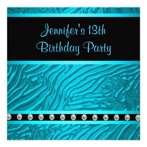 Teal Blue Zebra Girls 13th Birthday Party 5.25x5.25 Square
