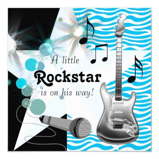 teal blue zebra rock star baby boy shower card zazzle. Black Bedroom Furniture Sets. Home Design Ideas