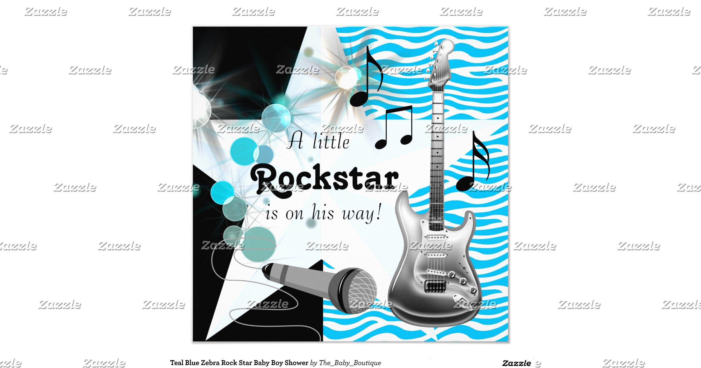 teal blue zebra rock star baby boy shower invitation. Black Bedroom Furniture Sets. Home Design Ideas