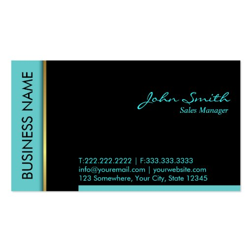 Teal Border S Manager Business Card