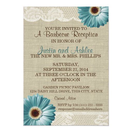Bbq Wedding Reception Ideas: Teal Daisy And Burlap BBQ Wedding Reception Card