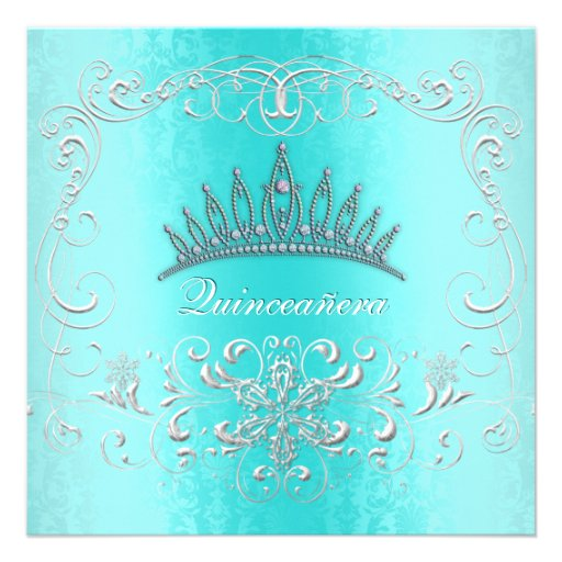 Teal Damask Quinceanera Diamond Tiara Invite