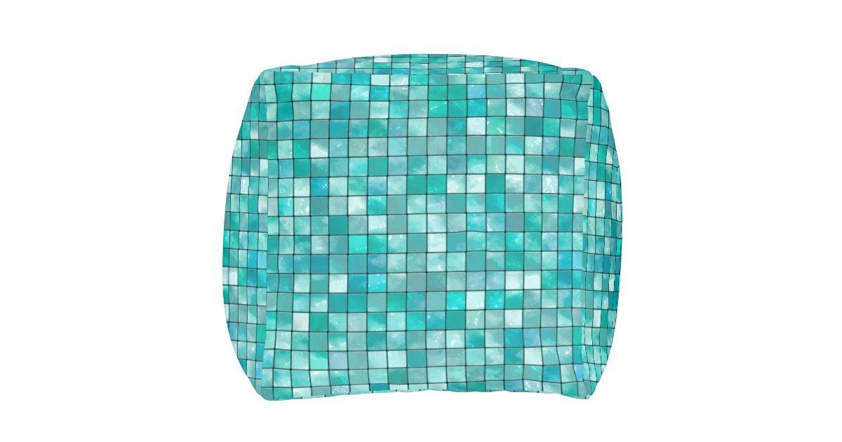 Teal Geometric Decorative Tile Pattern Pouf | Zazzle
