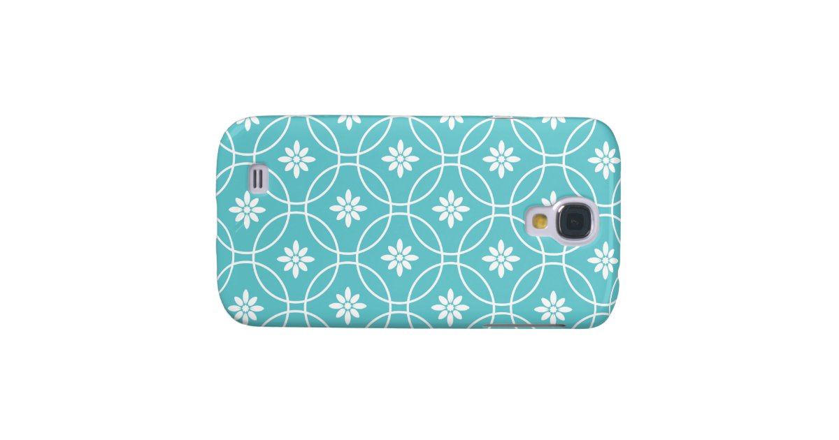 Teal Geometric Floral Pattern Galaxy S4 Cover | Zazzle