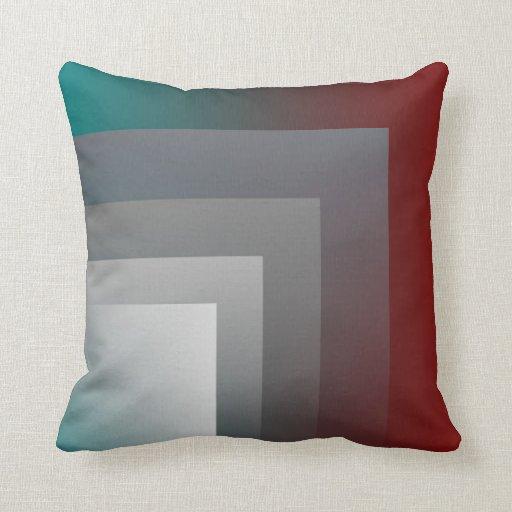 Teal Gray Burgundy Pillow Zazzle