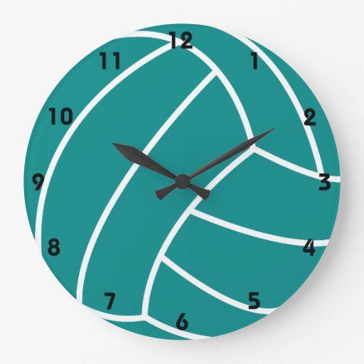 Teal Green Volleyball Large Clock Zazzle