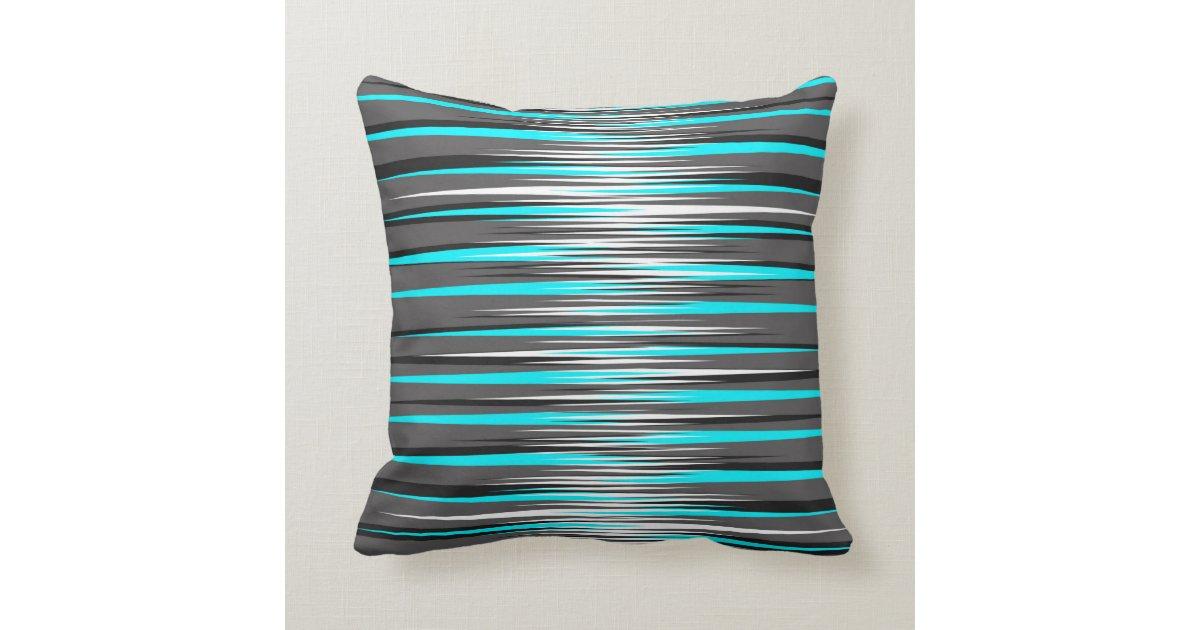 Teal, Grey, White, & Black Stripes Throw Pillow
