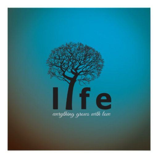 Teal Inspirational Life Tree Quote Poster | Zazzle