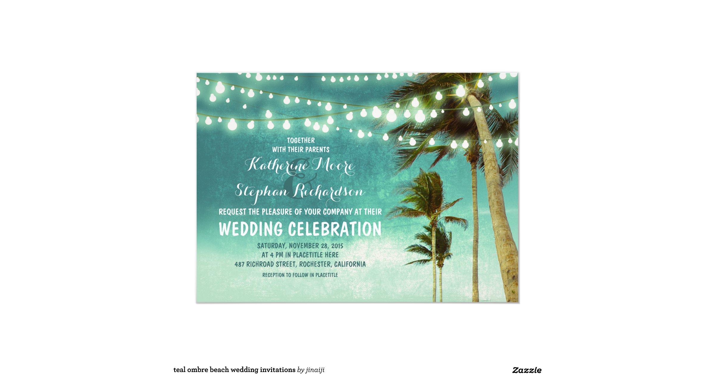 Ombre Wedding Invitation: Teal_ombre_beach_wedding_invitations