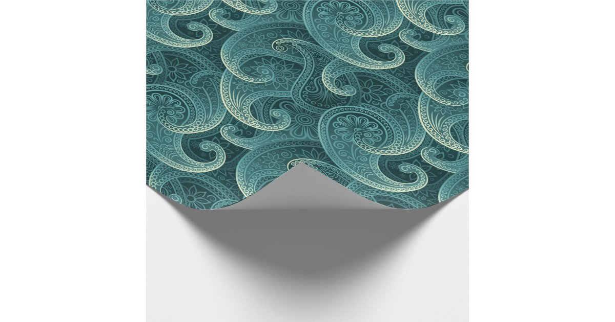Teal Paisley Timeless Pattern Wrapping Paper Zazzle