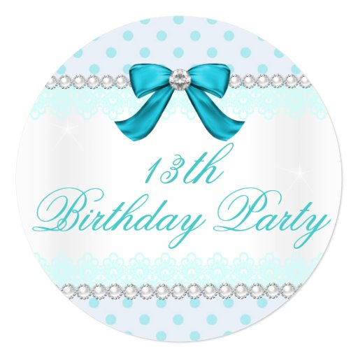 Teal Polka Dot, Girls 13th Birthday Party Invitation