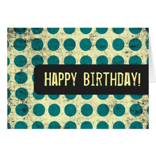 Teal Polka Dot Happy Birthday Card