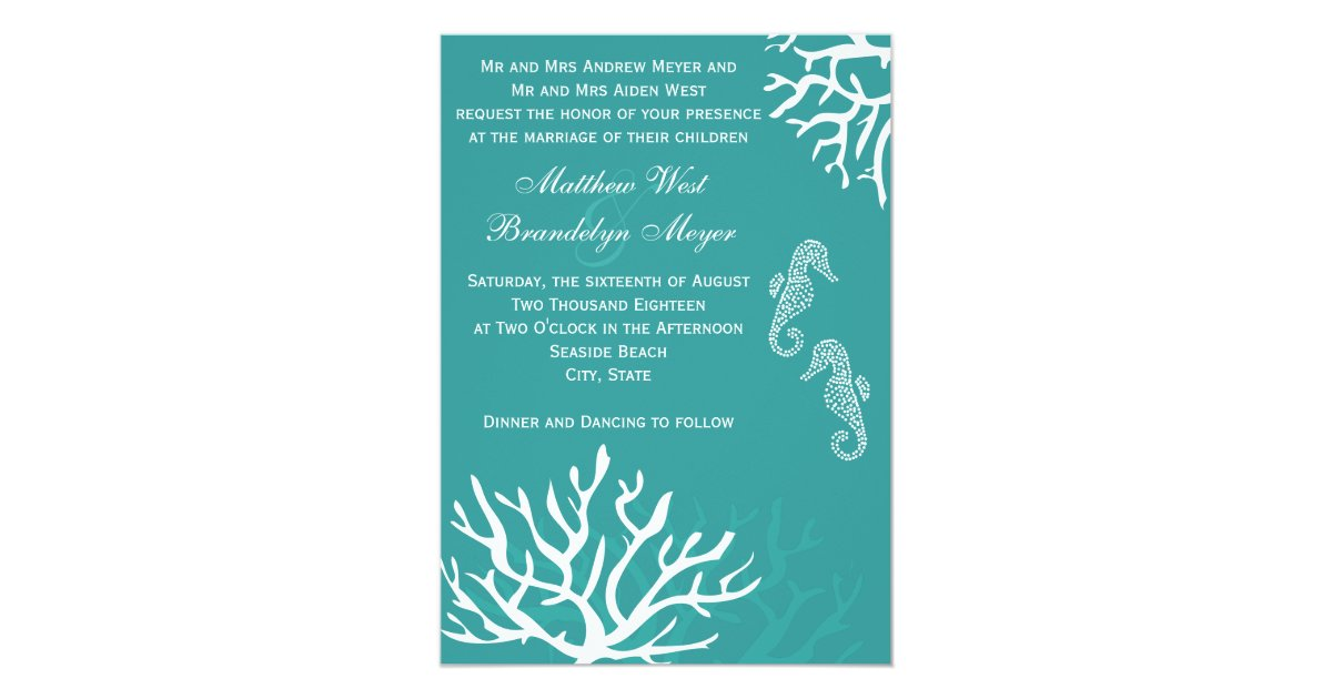 Coral And Teal Wedding Invitations: Teal Sea Coral Seahorse Wedding Invitations