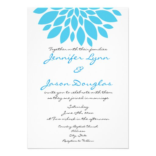 Teal Turquoise Blue Flower Wedding Invitations | Zazzle
