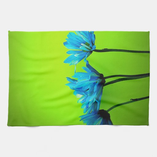 Turquoise Kitchen Towels: Teal Turquoise Daisies On Lime Green Flowers Gifts Kitchen