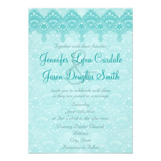 """Teal Turquoise Damask Lace Wedding Invitations 5"""" X 7 ..."""