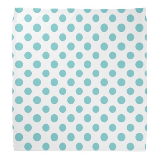 Teal White Polka Dots Pattern Bandana