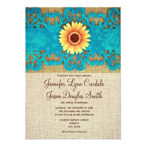 "Rustic Daisy Wedding Invitations: Teal Yellow Daisy Rustic Wedding Invitations 4.5"" X 6.25"