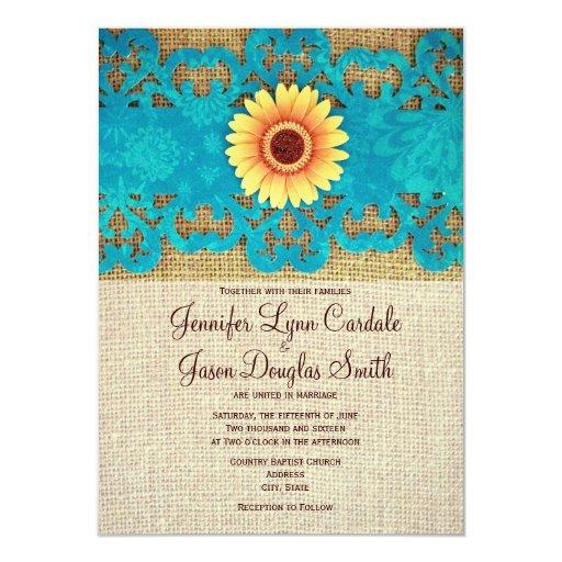Wedding Invitations In Maryland: Teal Yellow Daisy Rustic Wedding Invitations