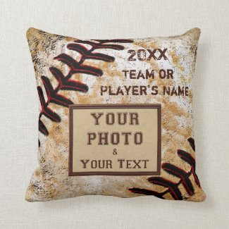 TEAM PHOTO, NAME, YEAR Custom Baseball Team Gifts Throw Pillows