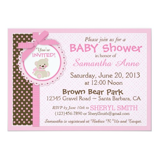 Pink Teddy Bear Baby Shower: Teddy Bear Baby Girl Baby Shower Pink 5x7 Paper Invitation
