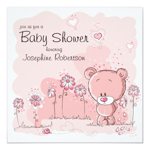 Pink Teddy Bear Baby Shower: Teddy Bear Baby Shower Invitation - Pink