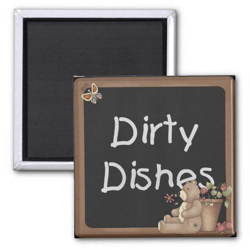 Teddy Bear Dirty Dishes Dishwasher Magnet | Zazzle