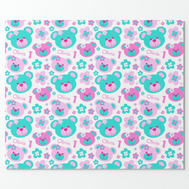 Teddy Bear Flowers 1st Birthday Name Gift Paper Wrapping 2 4