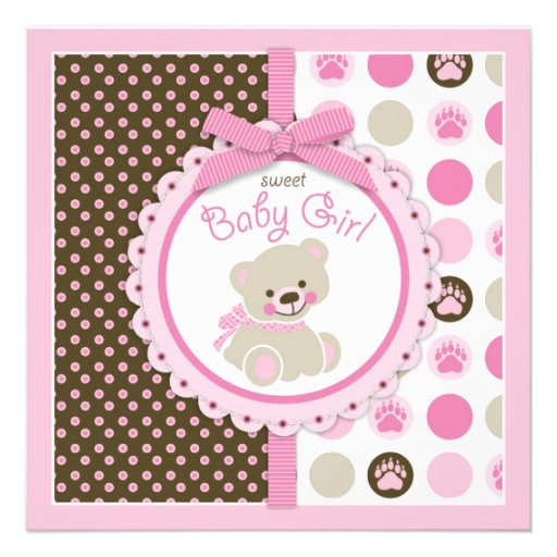 "Pink Teddy Bear Baby Shower: Teddy Bear Girl Baby Shower Pink 5.25"" Square Invitation"