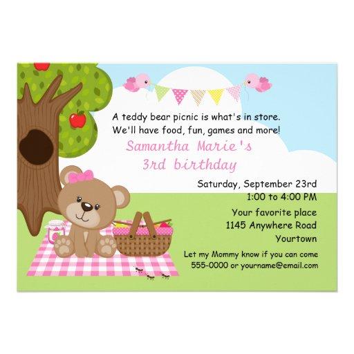 personalized teddy bear picnic invitations custominvitations4u com