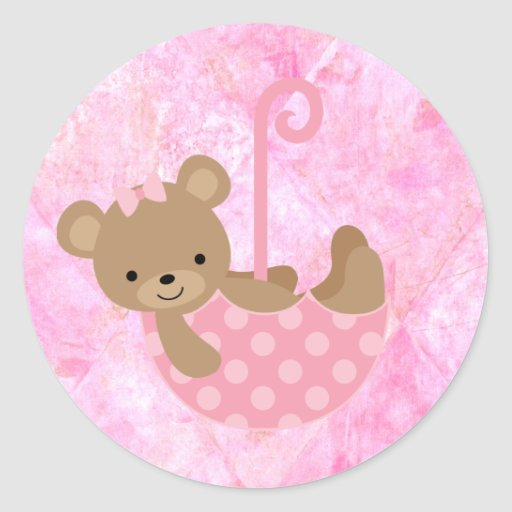 Pink Teddy Bear Baby Shower: Teddy Bear Pink Baby Shower Stickers