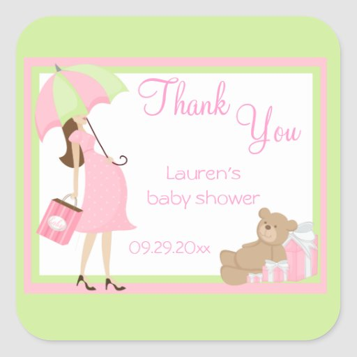 Pink Teddy Bear Baby Shower: Teddy Bear Pink Shopper Baby Shower Stickers