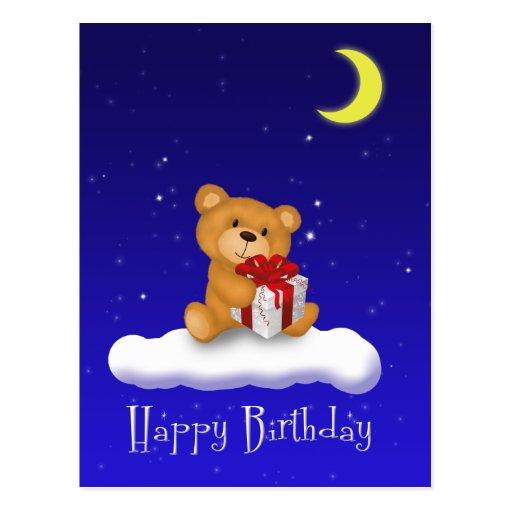 Teddy Bear with gift - Happy Birthday Postcard | Zazzle