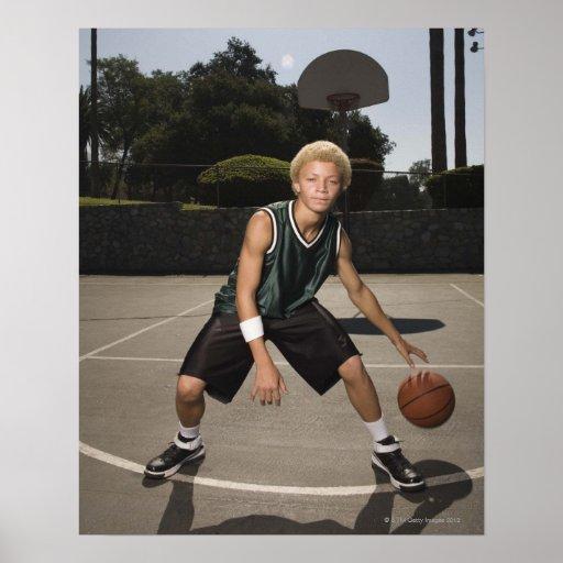 Teenage Boy On Basketball Court Poster
