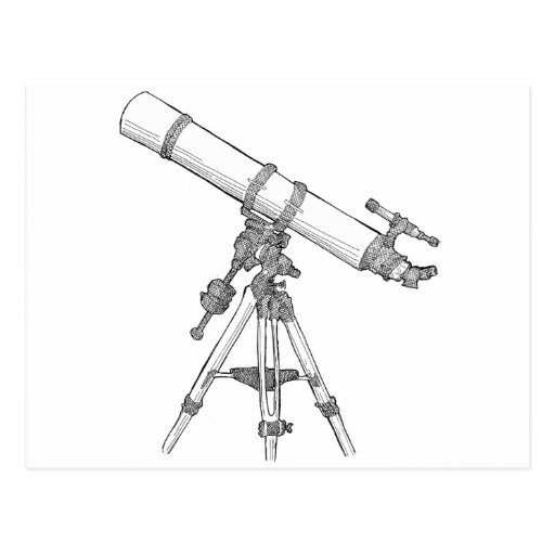 Telescope Drawing Series Postcard | Zazzle